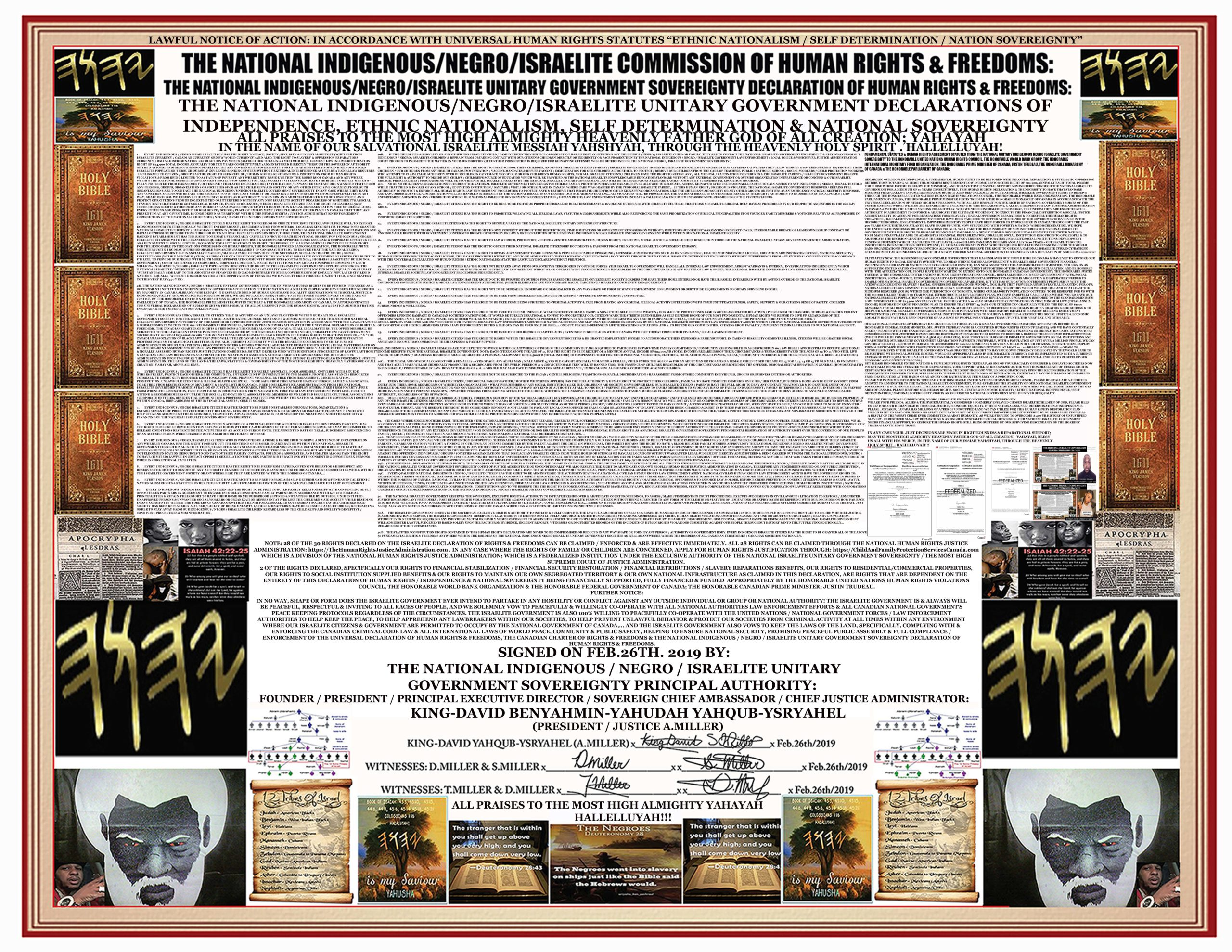 THE NATIONAL ISRAELITE GOVERNMENT CONSTITUTION