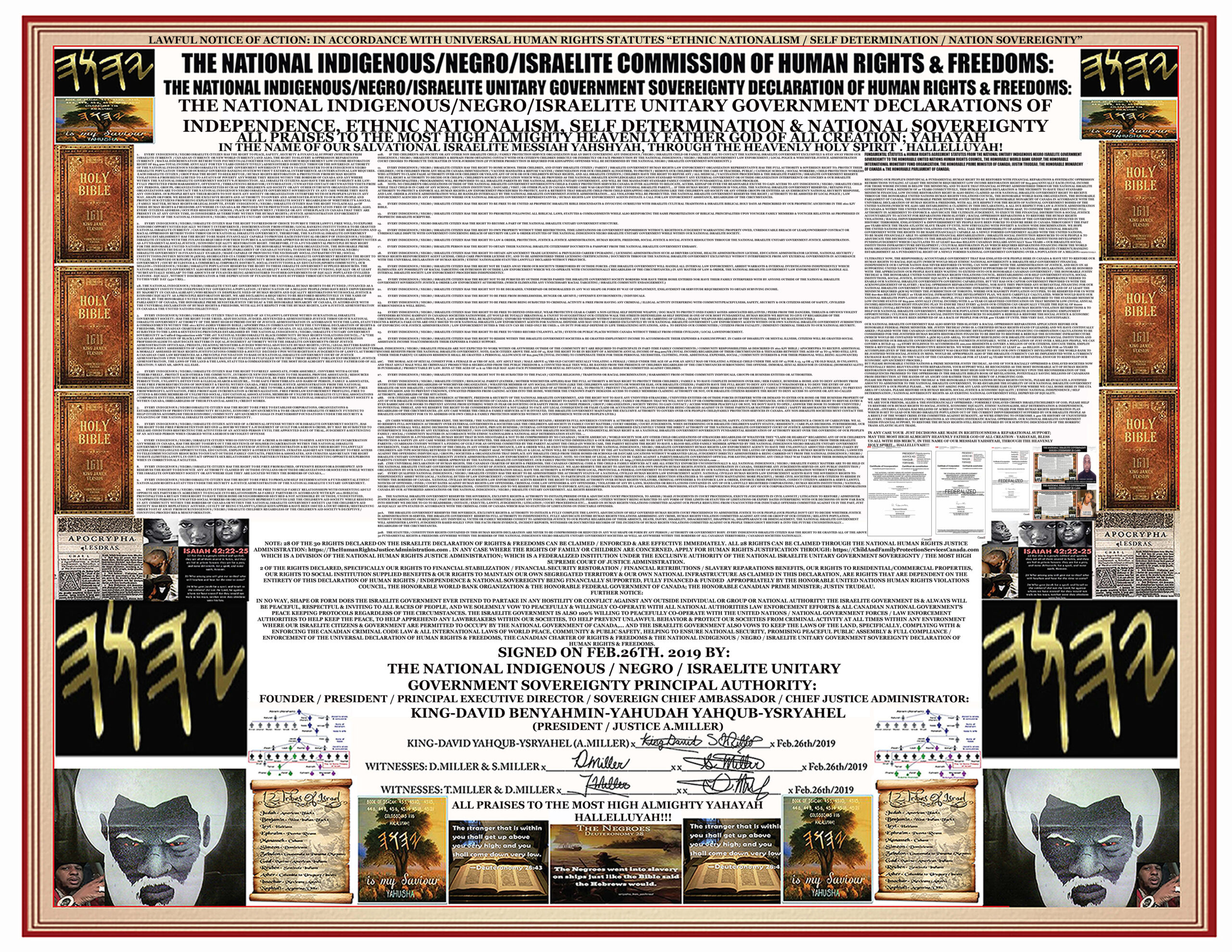 ISRAELITE GOVERNMENT CONTRACT WITH AMERICA HUMAN RIGHTS DECLARATION